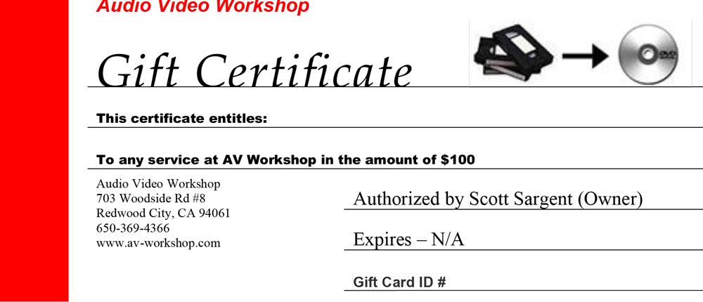 AV Gift Certificate $100