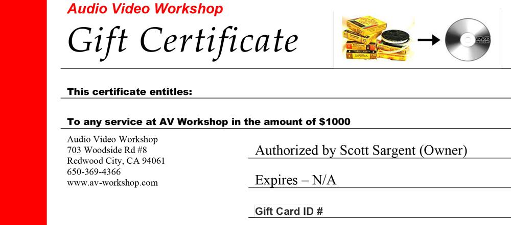 AV Gift Certificate $1000