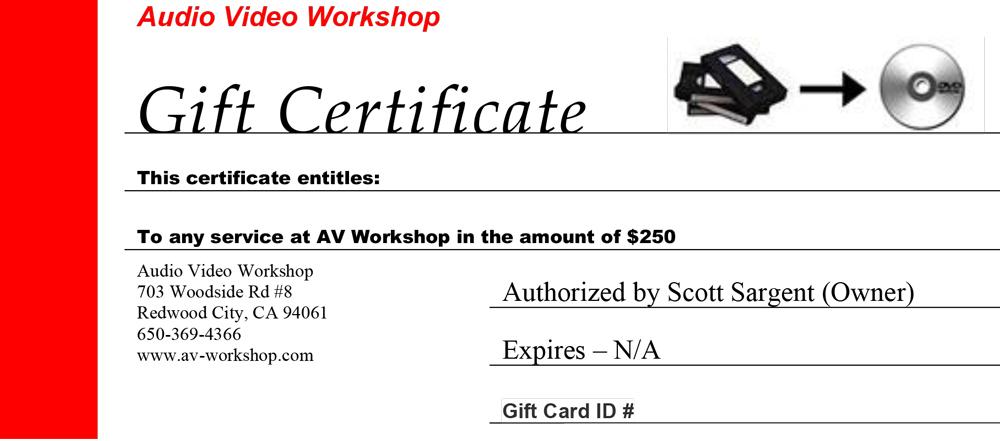 AV Gift Certificate $250
